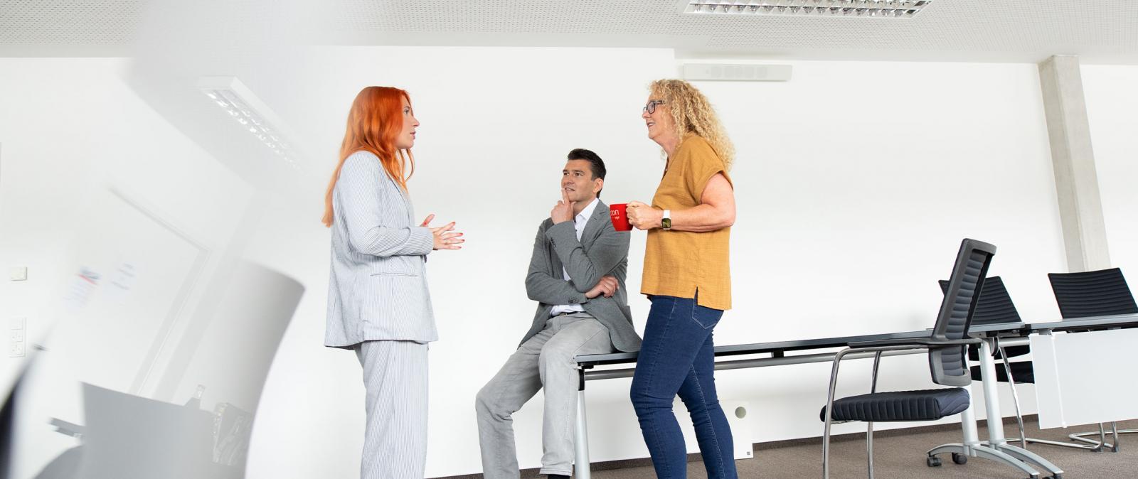 Gesprächssituation in einem Besprechungsraum, zwei Frauen und ein Mann